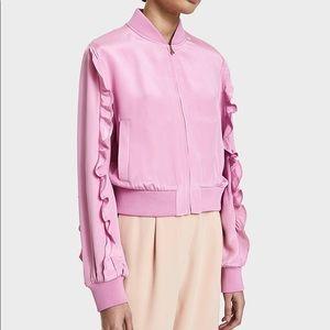 NWT Tibi pink silk ruffle bomber S